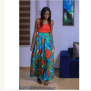 Dresses & Skirts - Blue and red floral maxi skirt. African wax cotton